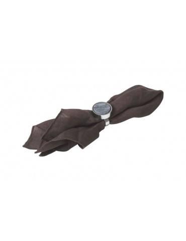 Cozy Living servietring crome og sort med serviet
