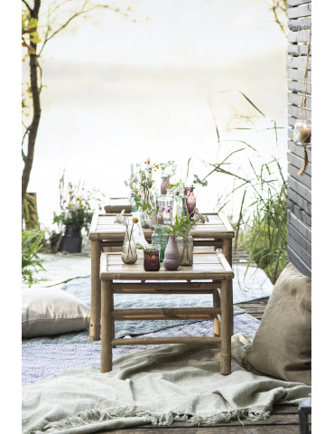 Ib Laursen sidebord bambus med sæt af 2 med blomster