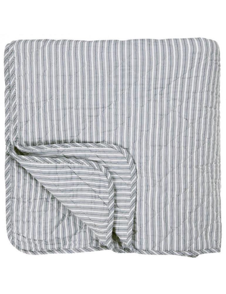 Ib Laursen sengetæppe enkelt hvid og støvblå