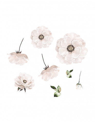 Thats mine wallsticker poppy flower white
