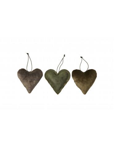 Speedtsberg hjerter ophæng 3 assorteret i læder natur farve