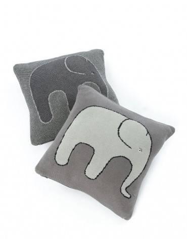 Smallstuff strikket pude med elefant grå