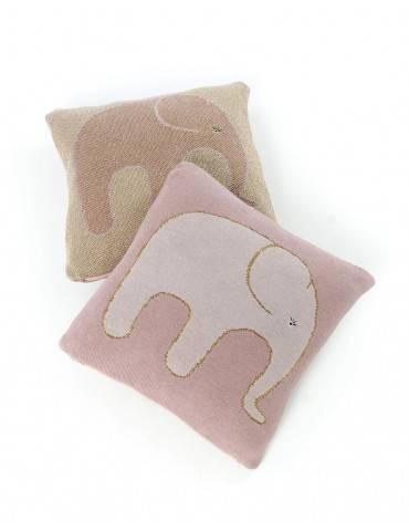 Smallstuff strikket pude med rosa elefant