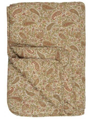 Ib Laursen quilt paisley grøn gylden og rust farver