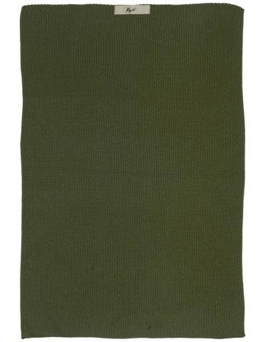 Ib Laursen Mynte håndklæde mørkegrøn strikket