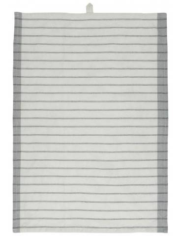 Ib Laursen Viskestykke hvid med grå kanter og sorte striber