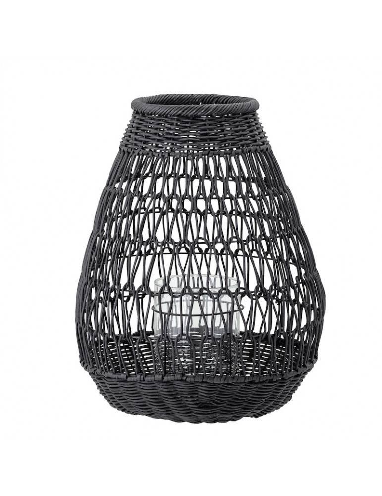 Bloomingville Lanterne med glas sort rattan lille