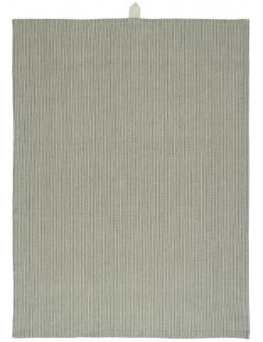 Ib Laursen Viskestykke beige/grønne smalle striber