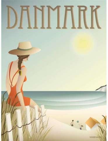 Vissevasse plakat Danmark - Stranden 15x20