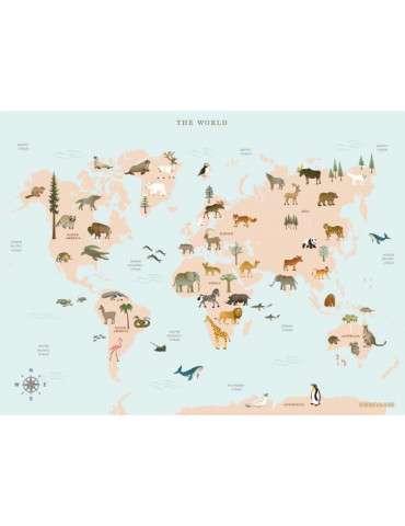 Vissevasse plakat World map animal 15x21