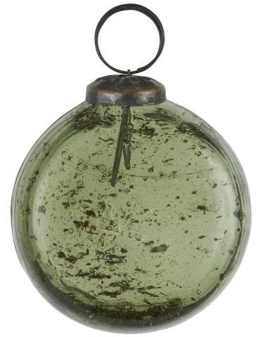 Ib Laursen Julekugle flad model pebbled mosgrøn H7 cm B3 cm